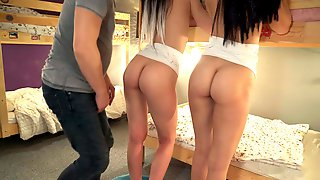 Tremendous Twins Squirt In Hostel - Zees In Action