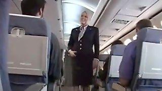 Blondie Stewardess, Riley Evans Is Groping A Customers Boner On Her Very First Working Day In The Vapid