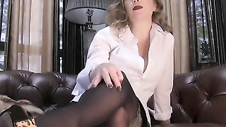 Slutty Cougar Is Giving Nice Jerk Off Instructions While Showing Her Legs