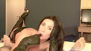 Cougar In Hip High Boots Gives Gorgeous Gloved Blowjob