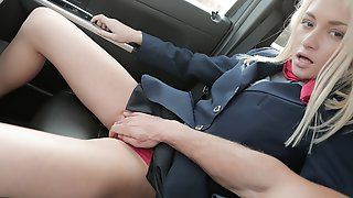 Russian Stewardess Squirts In Car After Hours
