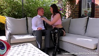 Chubby Mature MILF Lara Rides And Blows Cock Outdoors