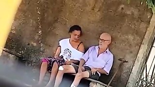 Wild Brunette Takes An Old Mans Cock For A Ride In Public