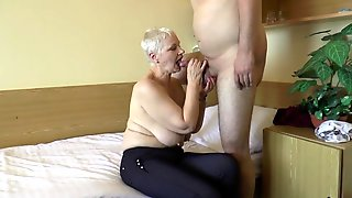 Voluptuous Amateur Blonde Granny Is A Sucker For Young Meat