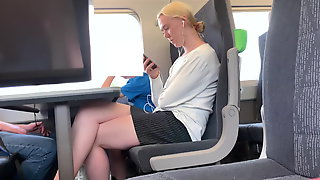 Blonde With Beautiful Legs On The Train