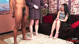Handsome Model Sapphire Rose Teases Two Naked Dudes - Interracial