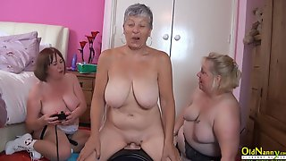 OldNannY Busty British Mature Lesbian Threesome Masturbation