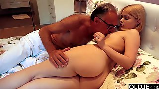 Lucky Old Guy Bangs Seductive Blonde Teen From Behind In Doggy Style