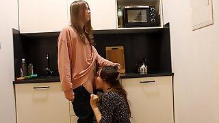 Trans Girl Gets Suprising Fucking In Kitchen