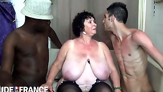 Old Grandma Olga Takes On 2 Guys - Fat Ass And Monster Tits In Interracial Threesome