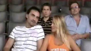 Huge-Boobed Blond Female, Nikita Valentin Lets Fellows Fumble Her In The Cinema, While Observing A Flick