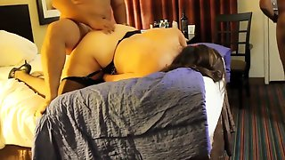 Curvy Amateur Wife In Stockings Gets Banged Hard By Two Guys
