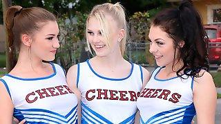 Cheerleaders Riley Mae, Lily Rader, Megan Sage All Get Fucked