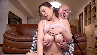Old And Young Hardcore With Cute Japanese Babe And Lucky Grandpa - ????