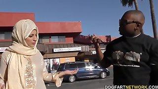 Black Dude Picks Up Arab Babe Nadia Ali Who Gives Him A Blowjob And Rides Huge Cock