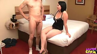 Chubby Girlfriend Charlotte Takes His Small Dick In Her Hands