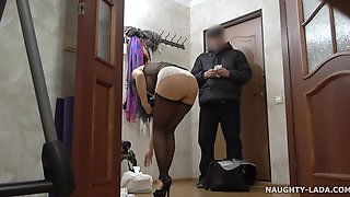 Naughty Exhibitionist Mom Orders Sushi Delivery - Big Tits