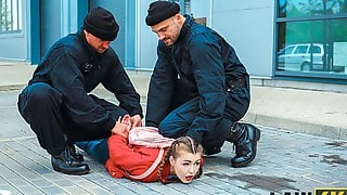LAW4k. Sultry Lassie Pleases Two Cops So They Can Let Her