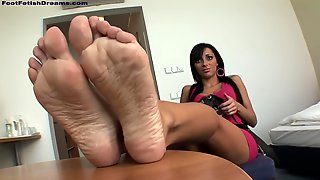 He Cant Wait To Get Her Feet On His Dick And Rub