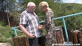 Old Guy Roughly Fucks Teenager Along With His Wife