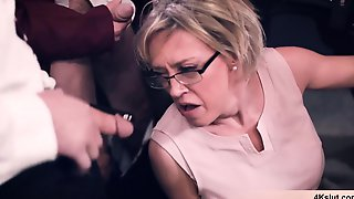 What Happens When The Blonde MILF Professor Chick Is Outnumbered By Cocks