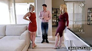 Sexy Stepmom With Knockout Curves Engages In A Steamy FFM Threesome