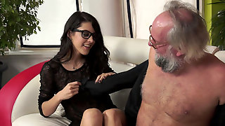 Beautiful Girl Carolina Abril Receives A Mouthful From Old Dude