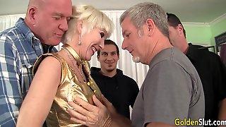 Blonde GILF Insane Gangbang Porn Video