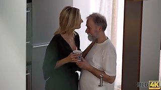 Old Man Worships Girl Pussy Before Shoving Boner Into It