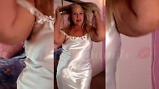 MILF Satin Striptease & Orgasm