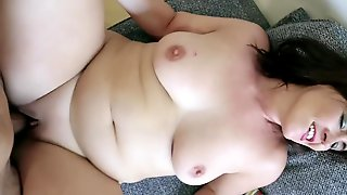 POV Lovemaking Provided By A Chubby Cougar With Bald Pussy