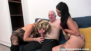 Grandpa Fucks His Niece And His Wife In A Glorious Amateur Threesome