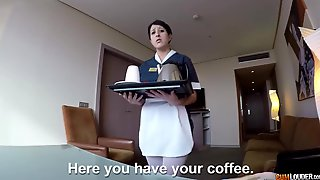 After Sucking Fat Cock Horny Maid Gives Hotel Guest A Good Ride On Top