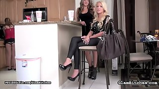 Slave Girl Made To Clean Her Mistresss High-heel Shoes With Her Mouth