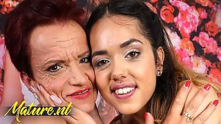 Slutty Cougar And Her Stepdaughter Are Licking One Anothers Ass