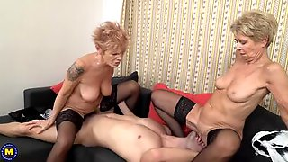 Two Horny Grannies Are Sitting On That Lads Face And Cock