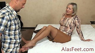 Mature Blond Female In A Brief Microskirt Invited A Super-naughty Fellow To Have A Good Pulverize Time