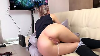 Petite Blonde Eva Elfie Is Fucked And Creampied While Playing A Game