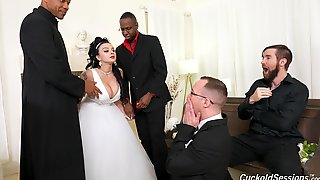 Busty Nude MILF Gets Laid With A Bunch Of Black Dudes On Her Wedding Day