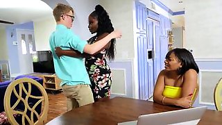 BBW Ebony MILF Is Testing Out The Cock Of Her Nerdy White Neighbor