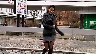 18 Year Old Slut Fucked And Swallows Cum At The Backseat In The Streets Of Berlin - PARTY JULE