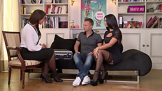 ANNA POLINA In Black Stockings Gets Fucked On The Sofa