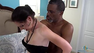 White MILF Is Being Nailed By A Horny Black Postman