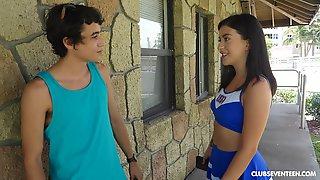 Sporty Cheerleader Teen Catania Pounded Hard Outdoors