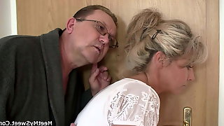 Old Mom And Dad Trick Blonde Teen Into Threesome