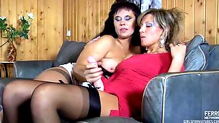 Blonde MILF Uses A Big Strap-on Dildo To Drill Brunettes Cunt