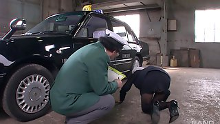 Japanese Female Taxi Driver Blows Her Coworker On Their Break