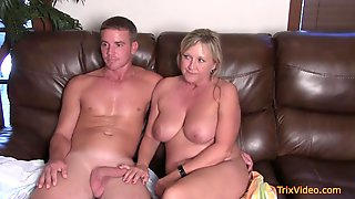 Big-Boobed Ash-blonde Housewife Got Down And Messy With A Hansome Stud The Other Day, Just For Joy