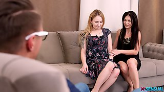 Couch Sex In A Mutual Home XXX Trio For Two Needy Women