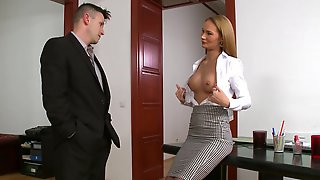 Hot Blonde Secretary Kerry Miller Gets Double Penetrated In The Office
